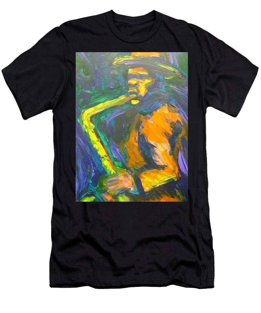 Painting Men's T-Shirt (Athletic Fit) featuring the painting R-night Jam by Jan Gilmore