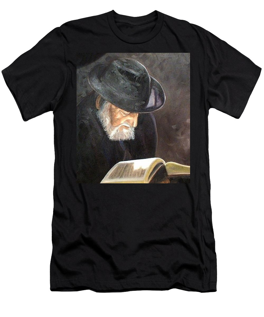 Portrait Men's T-Shirt (Athletic Fit) featuring the painting Rabbi by Toni Berry