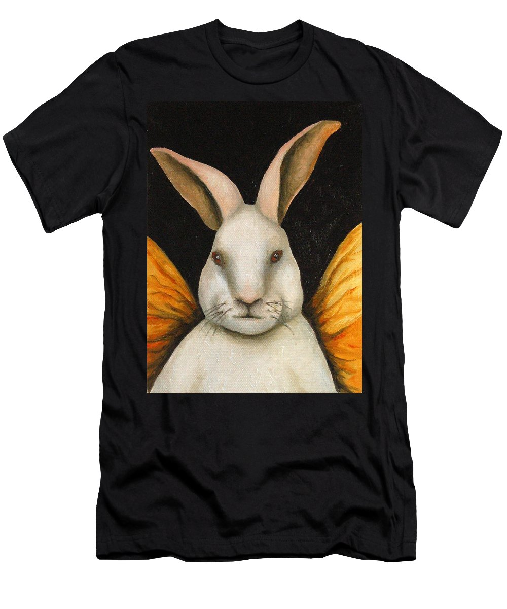 Rabbit Men's T-Shirt (Athletic Fit) featuring the painting Rabbit Fairy by Leah Saulnier The Painting Maniac