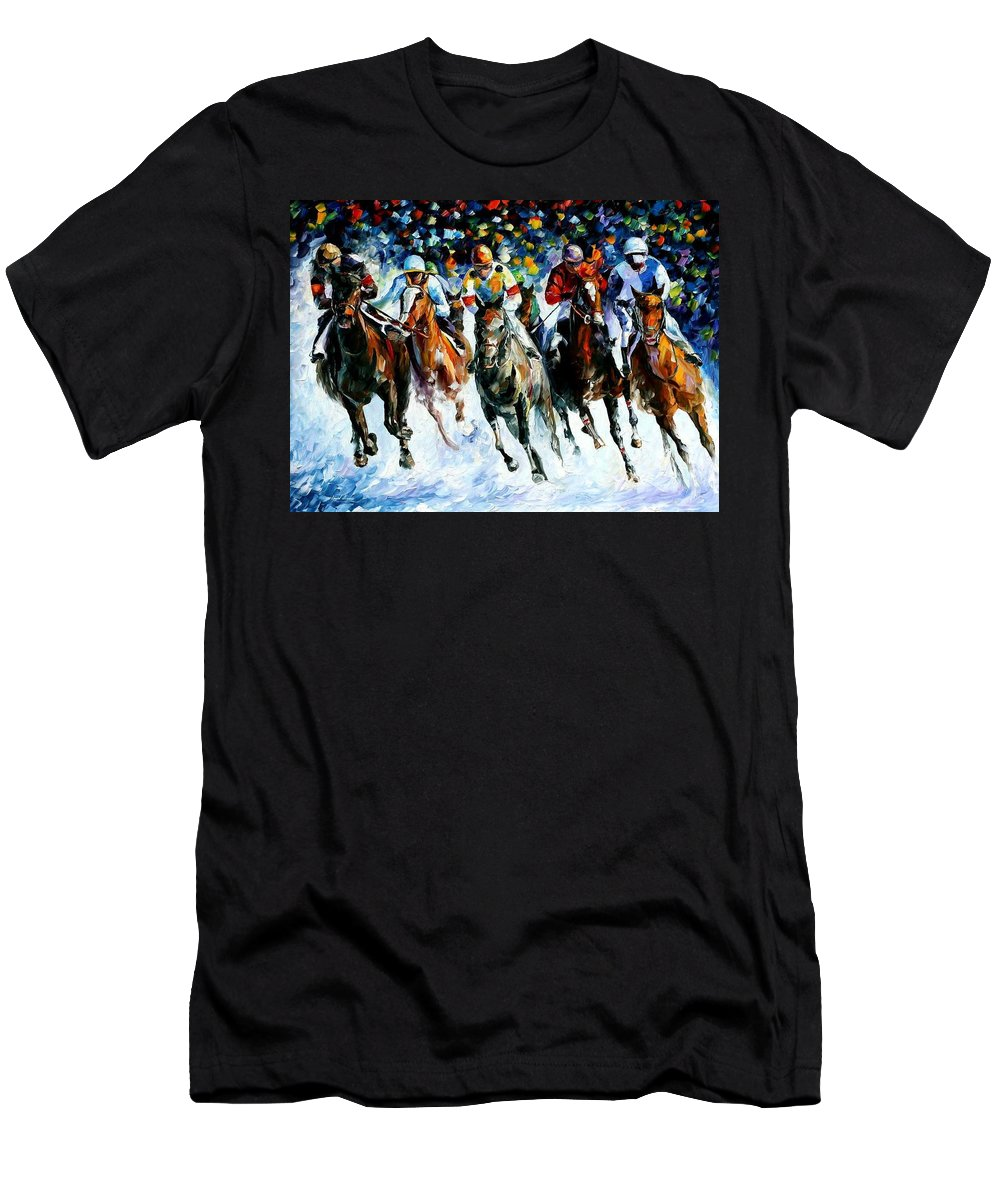 Race Men's T-Shirt (Athletic Fit) featuring the painting Race On The Snow by Leonid Afremov