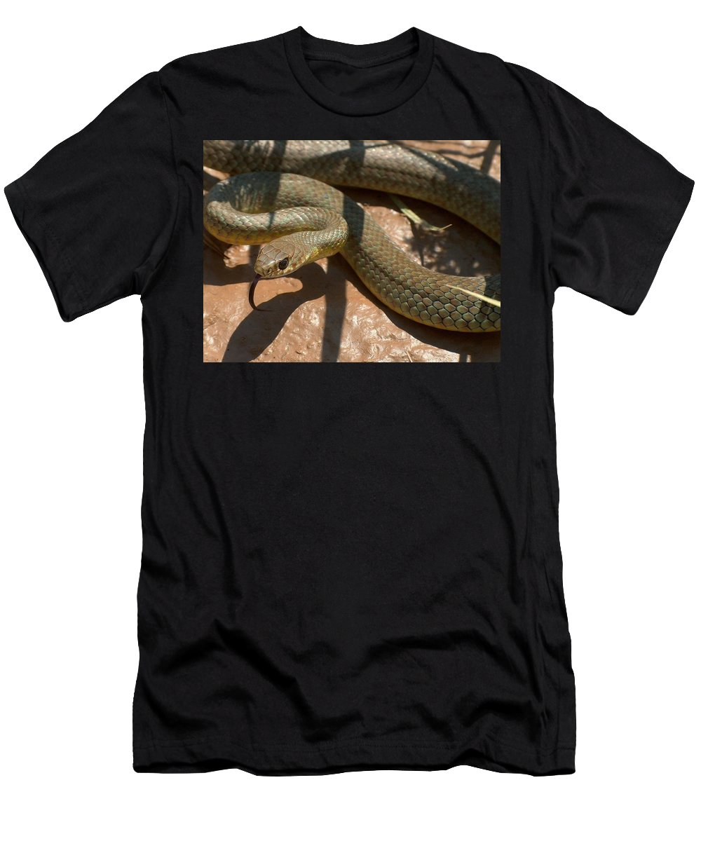 Green Racer Men's T-Shirt (Athletic Fit) featuring the photograph Racer On The Rio Grande by Tim McCarthy
