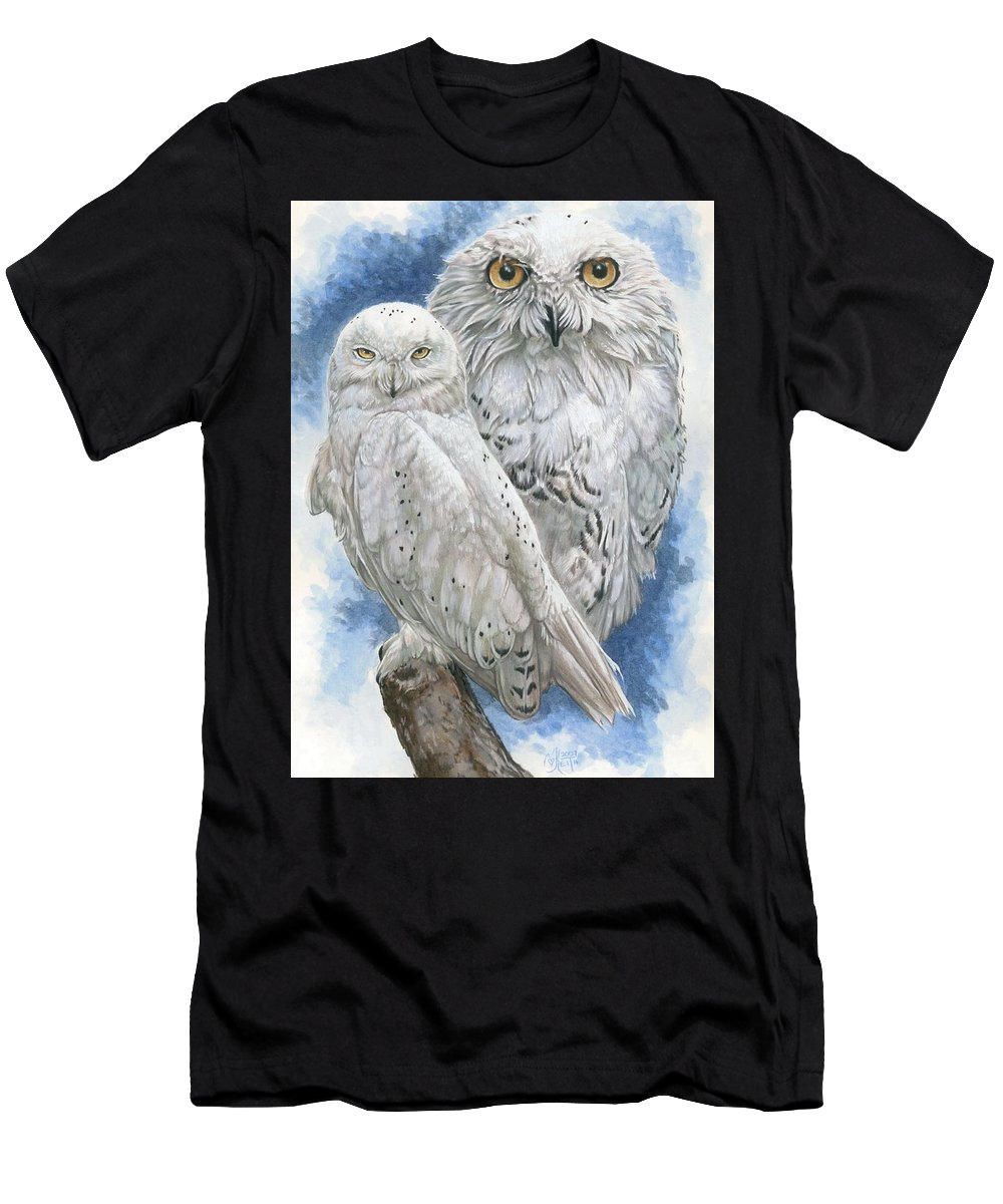 Snowy Owl Men's T-Shirt (Athletic Fit) featuring the mixed media Radiant by Barbara Keith