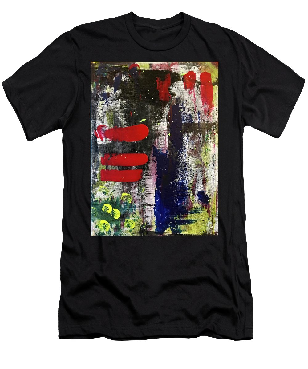 Red Blue White Yellow Green Black Pink Abstract Contemporary Modern Wall Art Room Decor Design Men's T-Shirt (Athletic Fit) featuring the painting Radical by Nadia Faridi