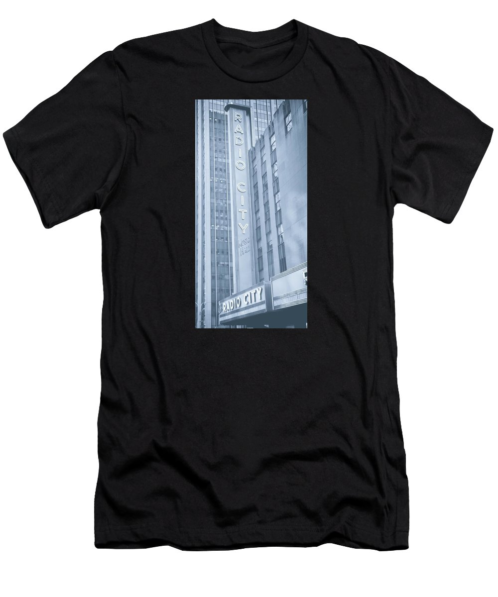 Radio City Music Hall Men's T-Shirt (Athletic Fit) featuring the photograph Radio City Cool Toned by Dan Sproul