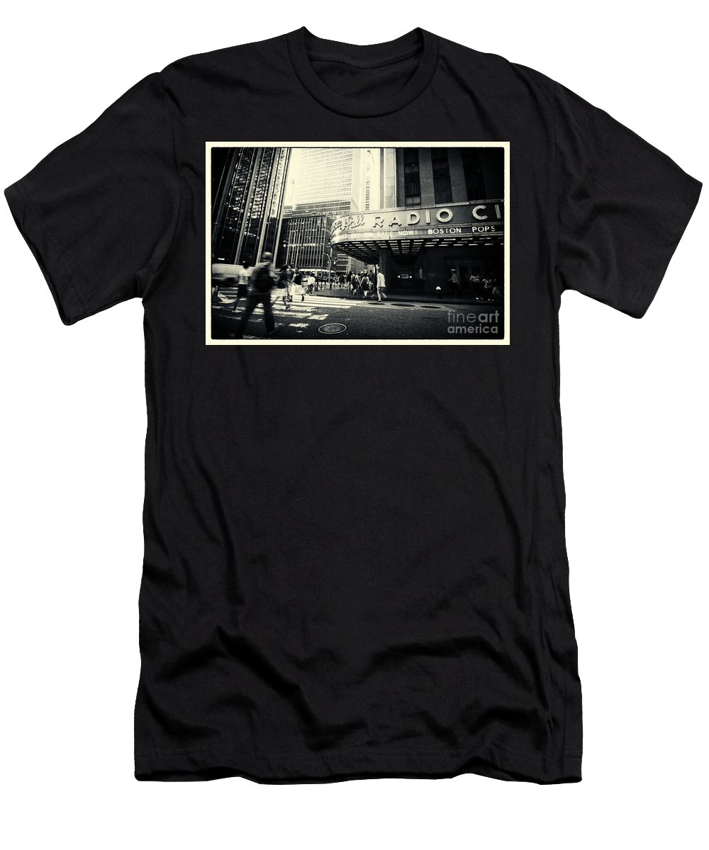 Filmnoir Men's T-Shirt (Athletic Fit) featuring the photograph Radio City Music Hall Manhattan New York City by Sabine Jacobs