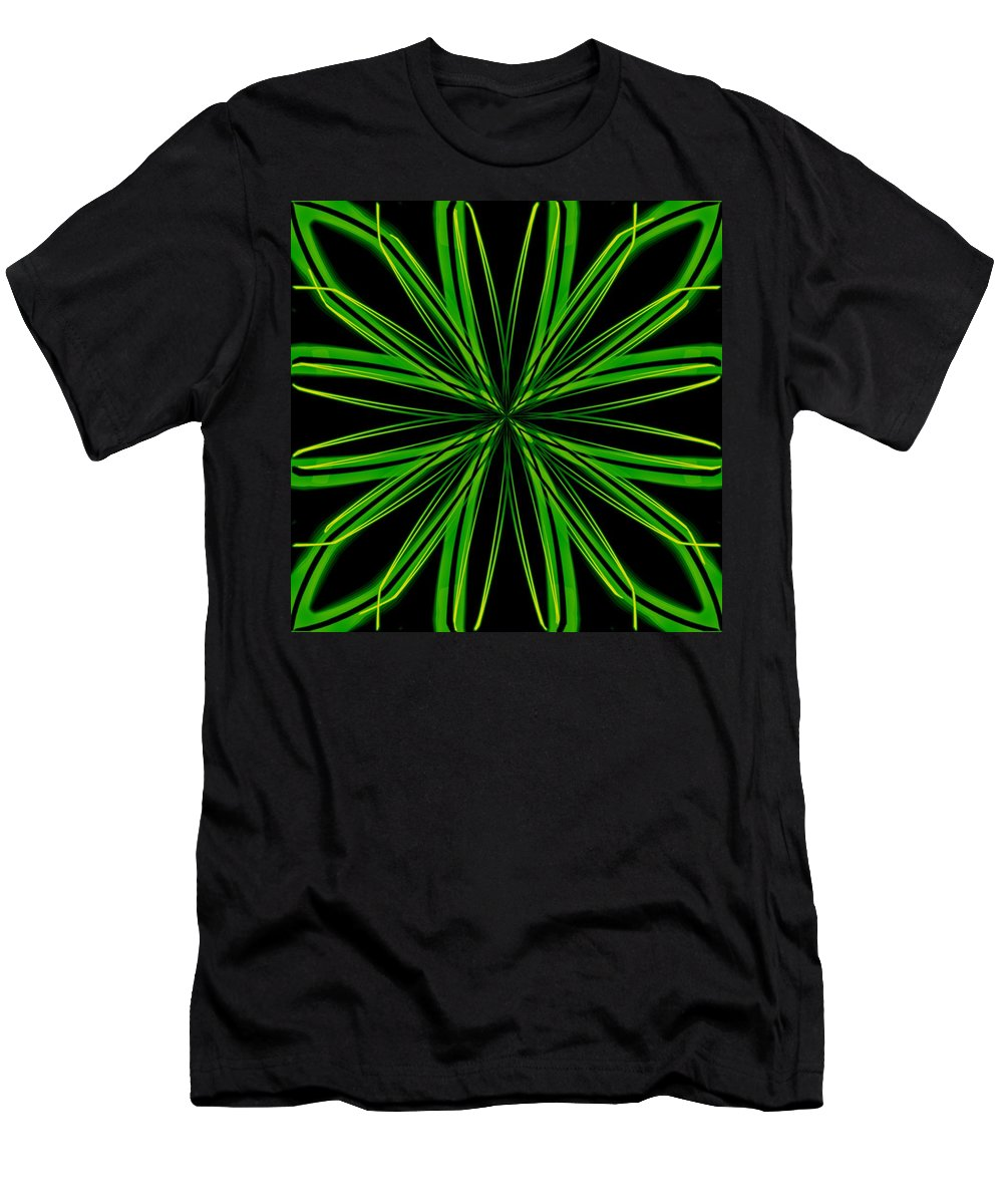 Snowflake Men's T-Shirt (Athletic Fit) featuring the digital art Radioactive Snowflake Green by Randolph Ping