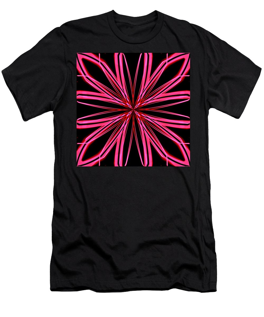 Snowflake Men's T-Shirt (Athletic Fit) featuring the digital art Radioactive Snowflake Red by Randolph Ping