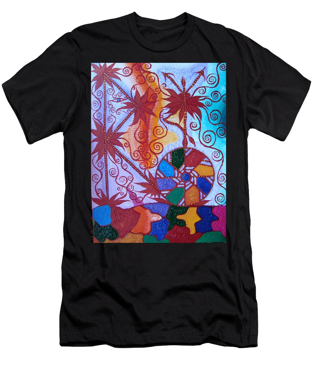 Symbol Men's T-Shirt (Athletic Fit) featuring the painting Raido, Rhytm , Dance by Joanna Pilatowicz