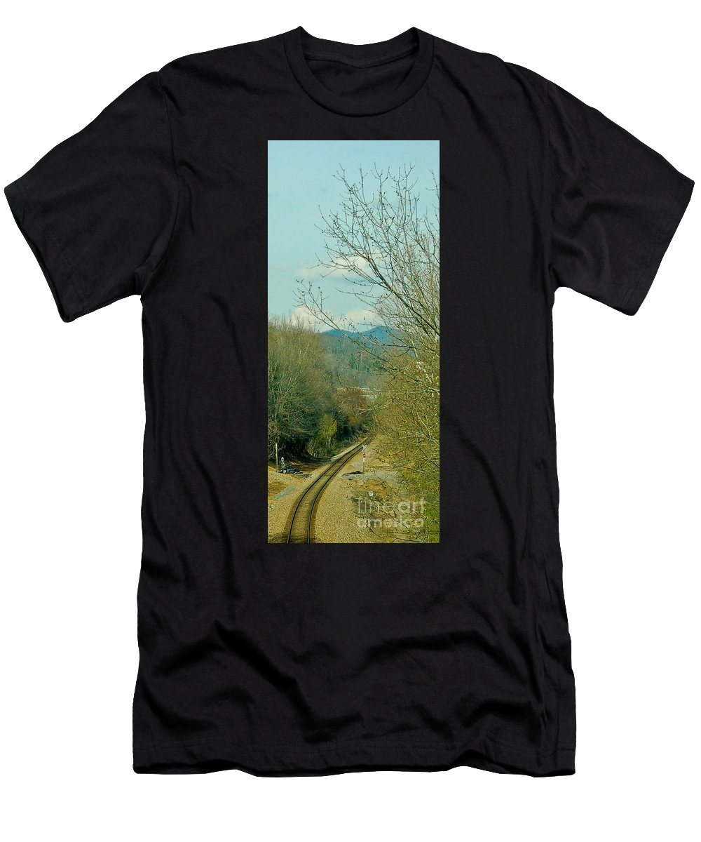 Landscapes Men's T-Shirt (Athletic Fit) featuring the photograph Railroad Adventure by Johnnie Stanfield