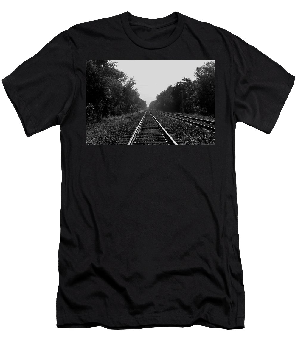 Railroad Men's T-Shirt (Athletic Fit) featuring the photograph Railroad To Nowhere by Trish Tritz