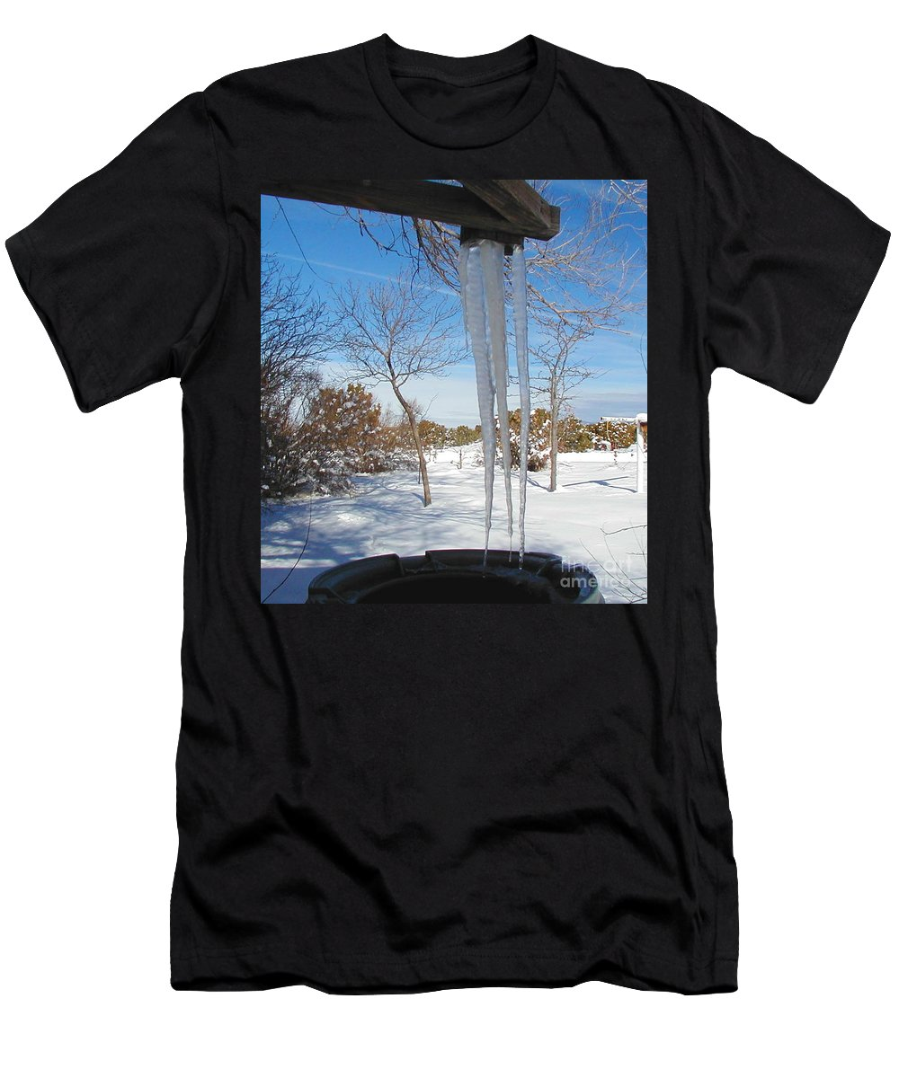 Icicle Men's T-Shirt (Athletic Fit) featuring the photograph Rain Barrel Icicle by Diana Dearen