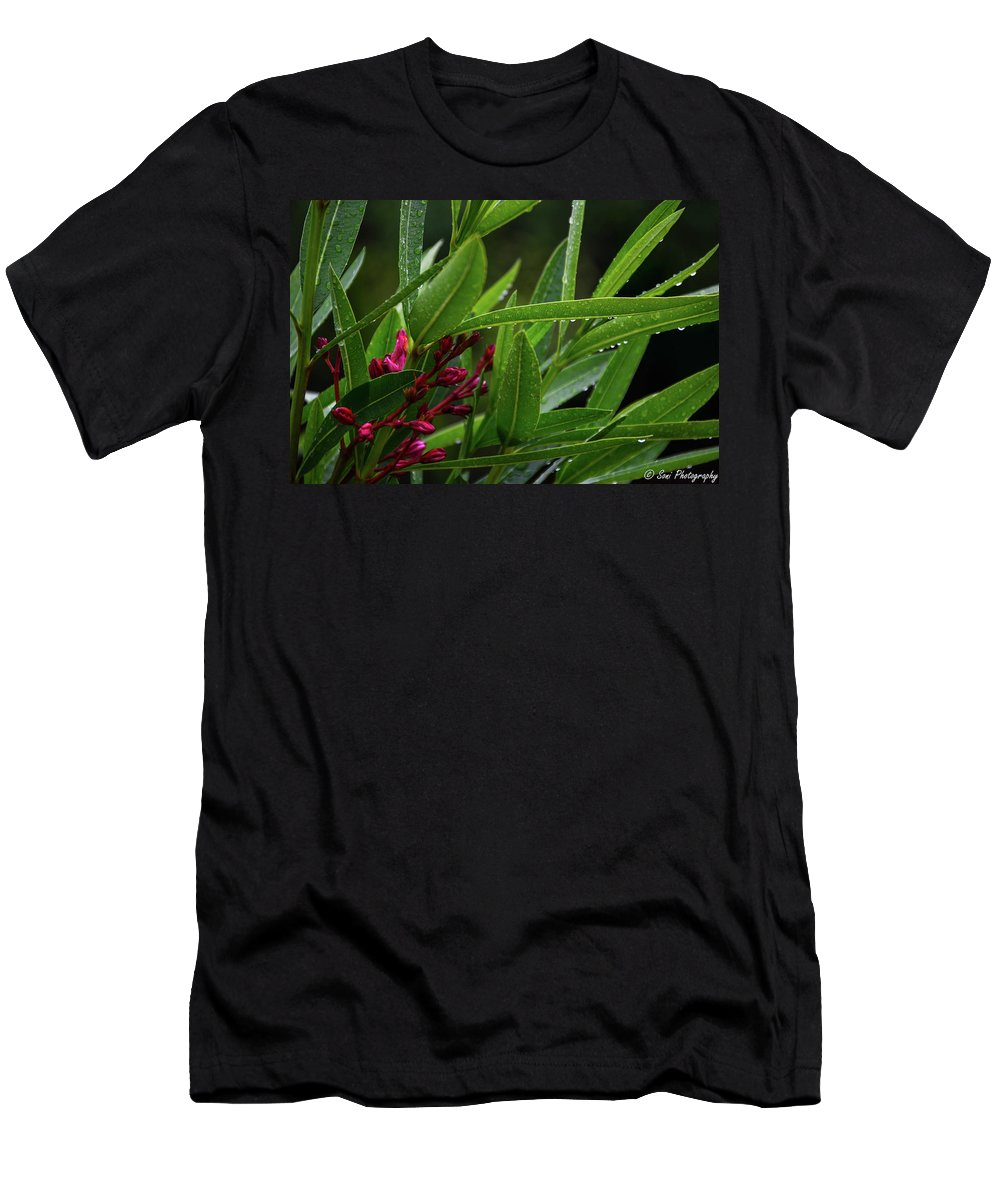 Blades Of Grass Men's T-Shirt (Athletic Fit) featuring the photograph Rain Coated Blades Of Grass And Deep Pink Petals by Soni Macy
