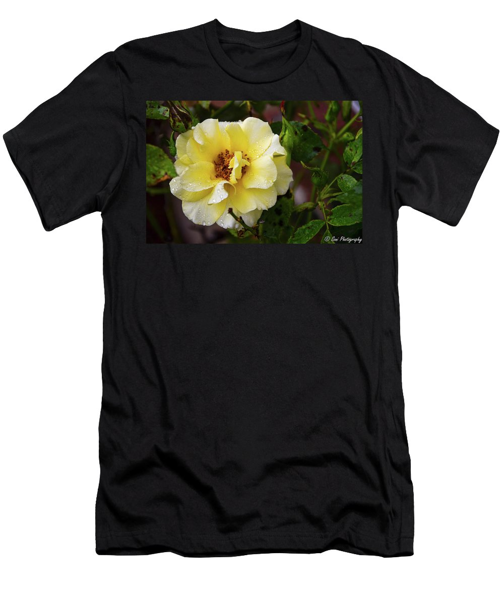 Yellow Flower Men's T-Shirt (Athletic Fit) featuring the photograph Rain Coated Yellow Rose by Soni Macy