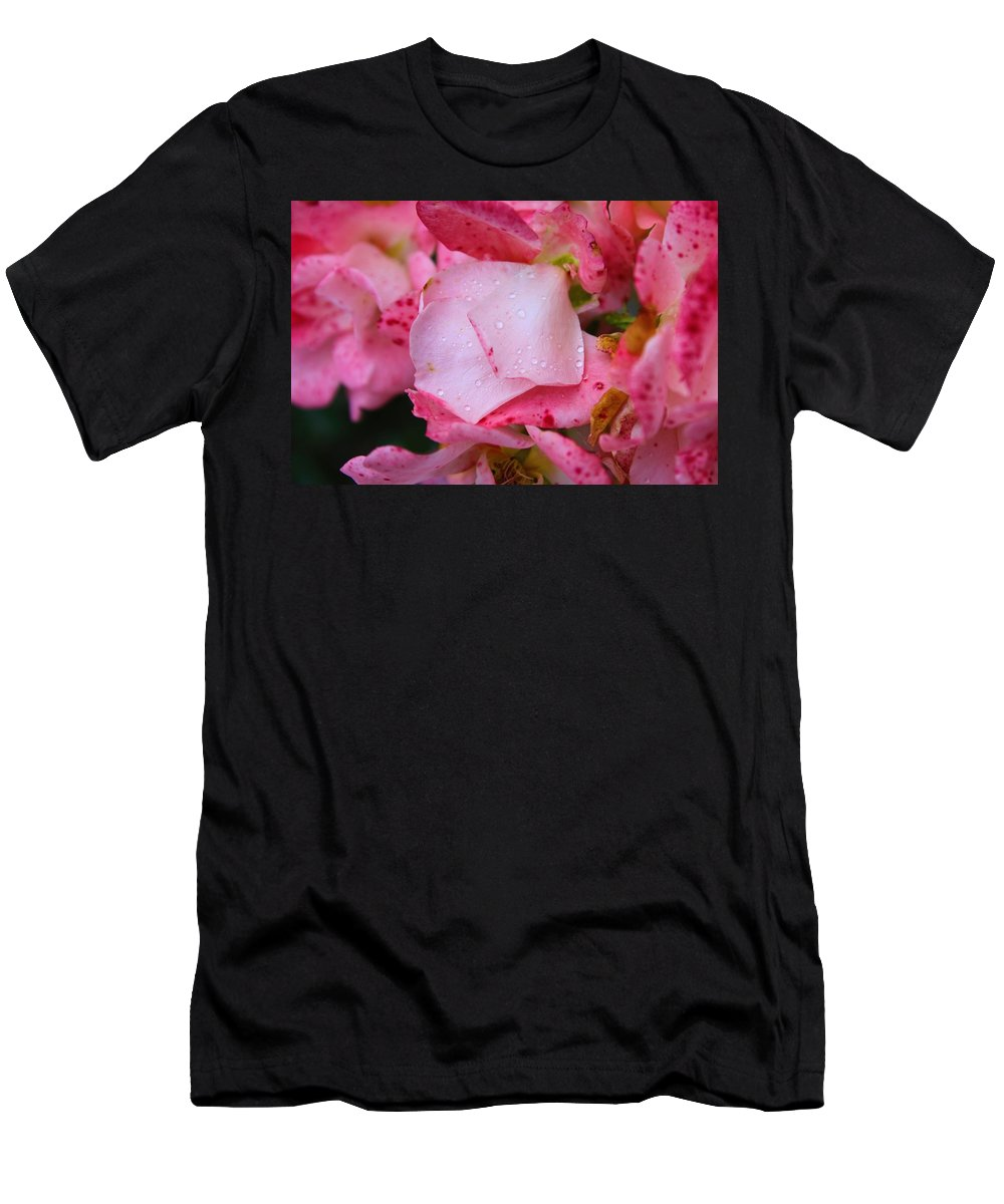 Nature Men's T-Shirt (Athletic Fit) featuring the photograph Rain Falls On Petals And All by Aaliyah Muhammad