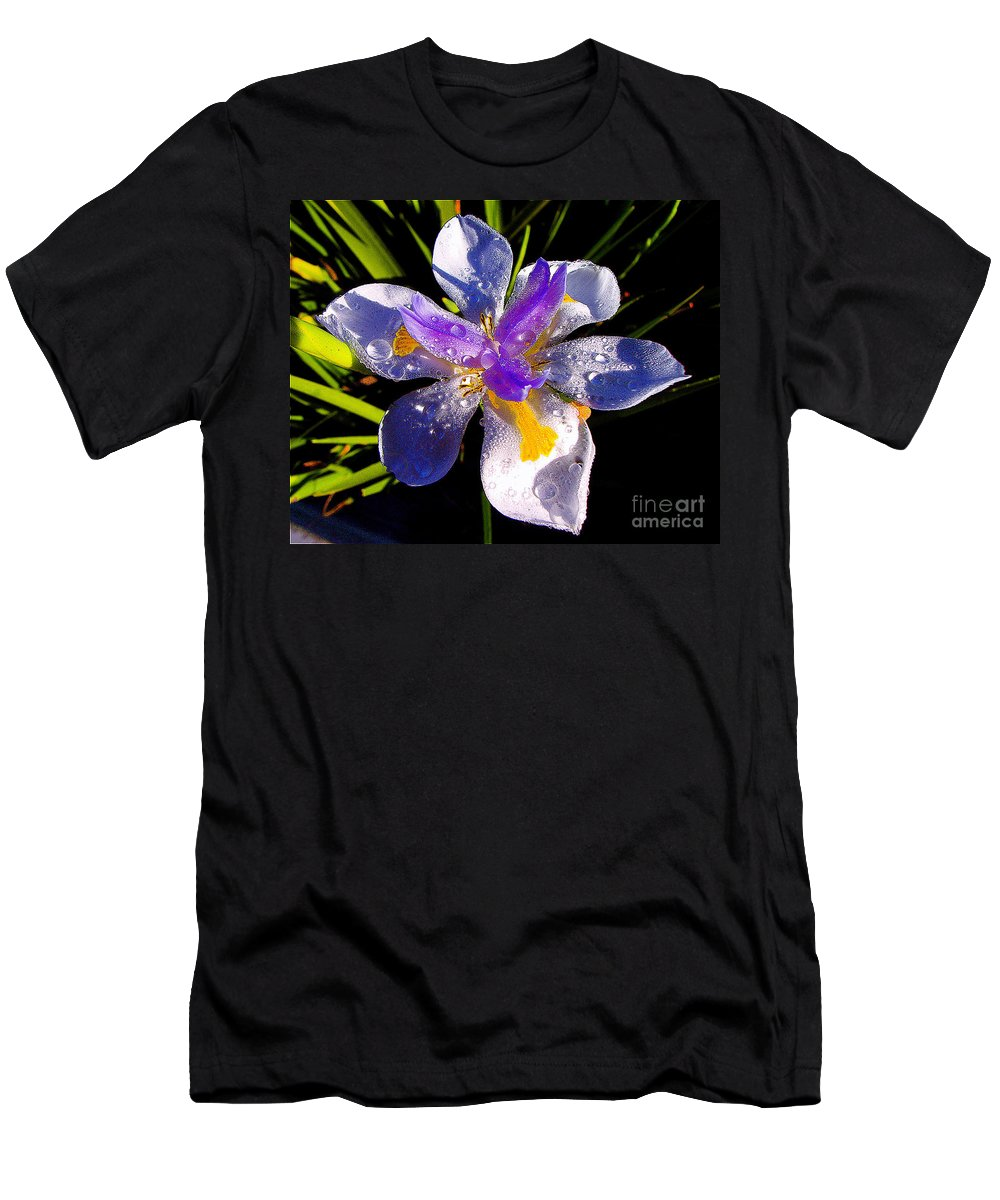 Flower Men's T-Shirt (Athletic Fit) featuring the photograph Rain Flower Morning by Jerome Stumphauzer