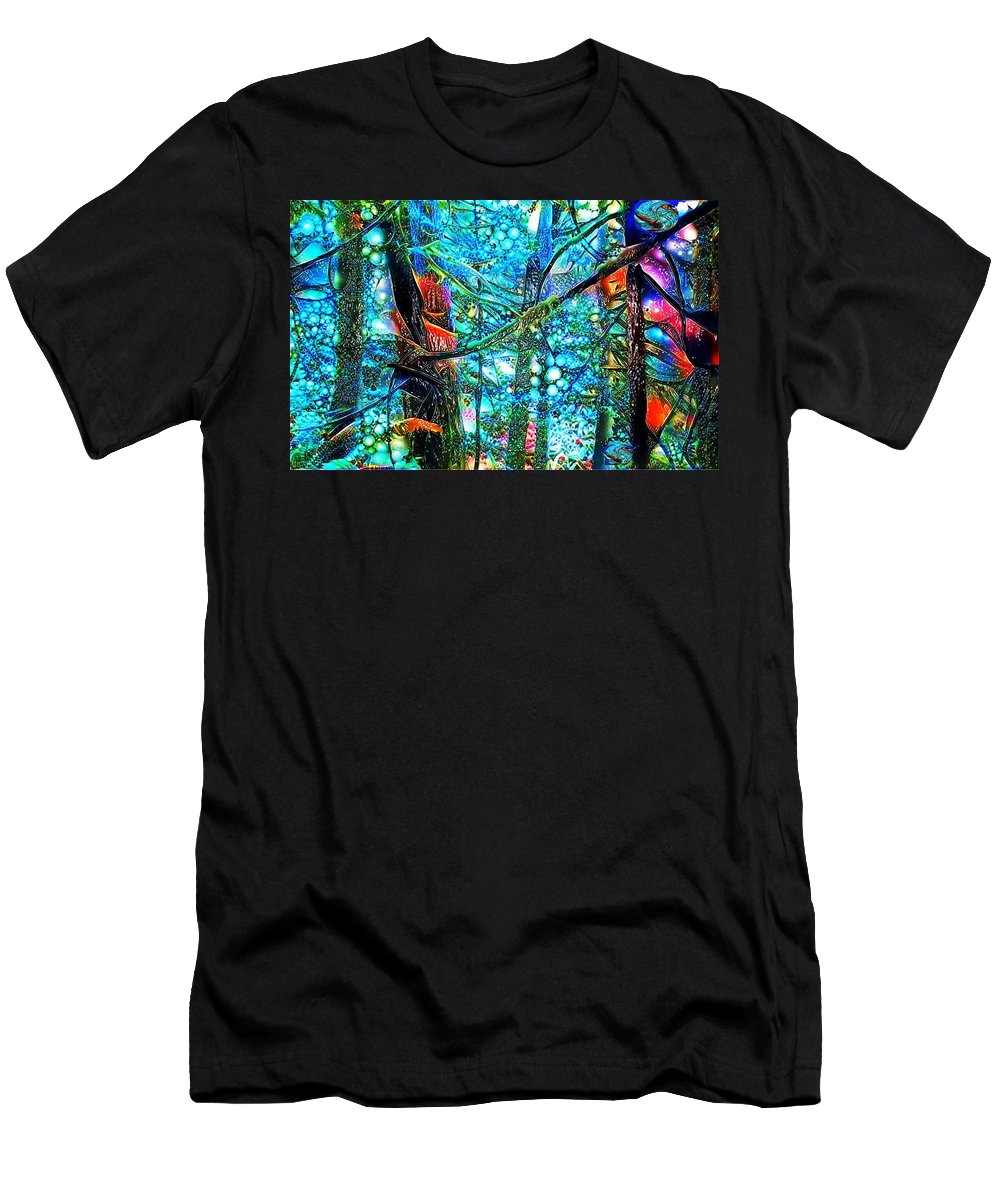 Vivid Color Abstract Therapeutic Relief Image Men's T-Shirt (Athletic Fit) featuring the photograph Rain Forest by John P Earls