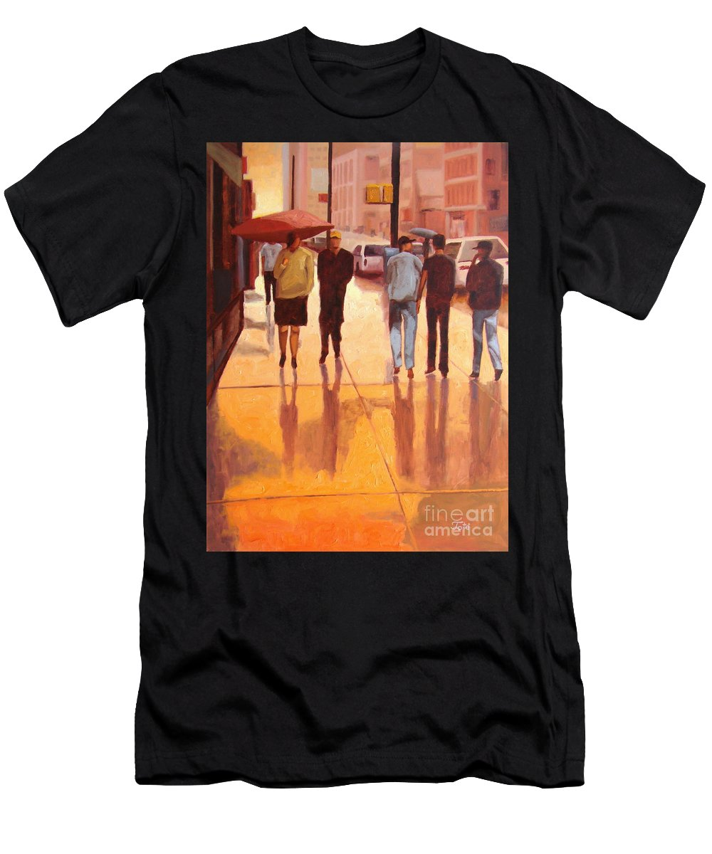 Manhattan Men's T-Shirt (Athletic Fit) featuring the painting Rain In Manhattan Number Eighteen by Tate Hamilton