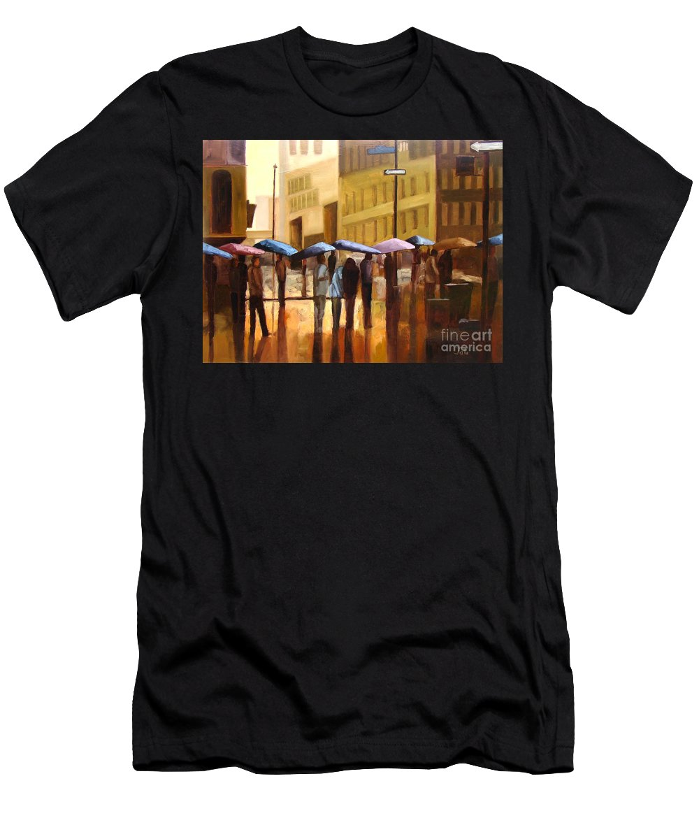 Cityscape Men's T-Shirt (Athletic Fit) featuring the painting Rain In Manhattan Number Seventeen by Tate Hamilton