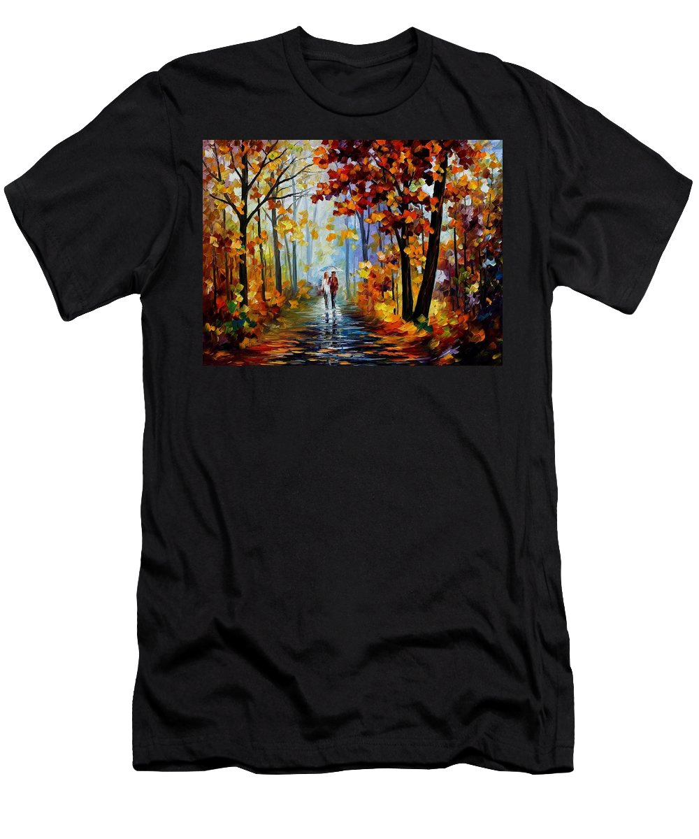 Afremov Men's T-Shirt (Athletic Fit) featuring the painting Rain In The Woods by Leonid Afremov