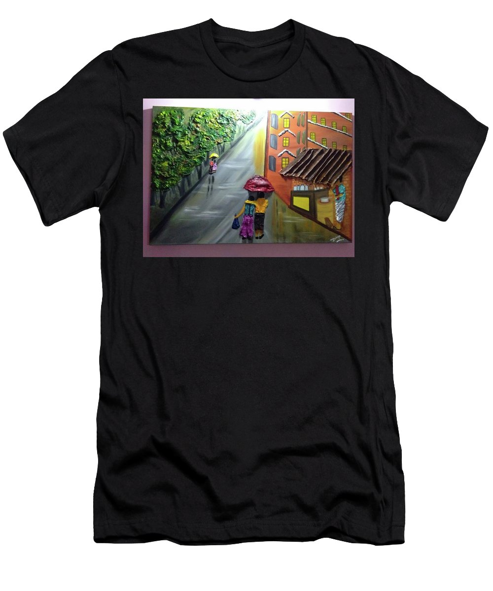 Water Men's T-Shirt (Athletic Fit) featuring the painting Rain Nature And Street by Divya Singh