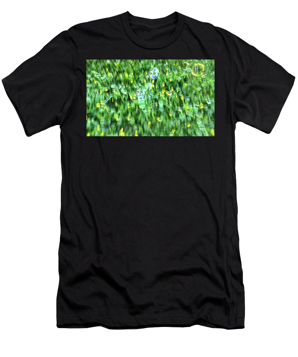 Bubble Men's T-Shirt (Athletic Fit) featuring the photograph Rainbow Bubbles On The Grass by Nat Air Craft