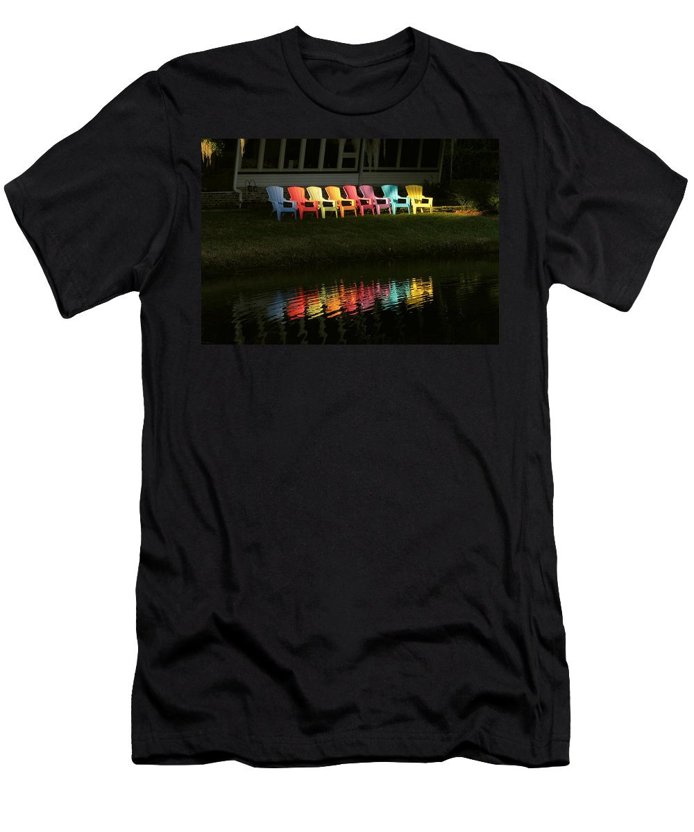 Lounge Men's T-Shirt (Athletic Fit) featuring the photograph Rainbow Chairs by Peg Urban