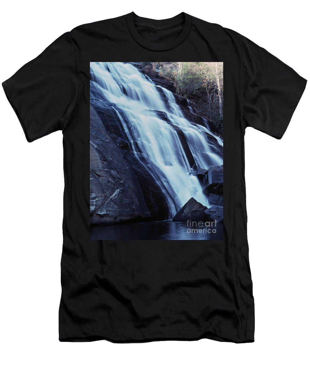 Waterfall Men's T-Shirt (Athletic Fit) featuring the photograph Rainbow Falls by Richard Rizzo
