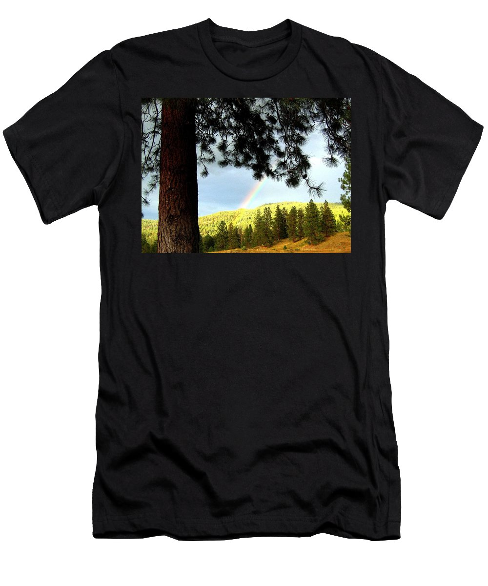 Rainbow Men's T-Shirt (Athletic Fit) featuring the photograph Rainbow In Pine Country by Will Borden