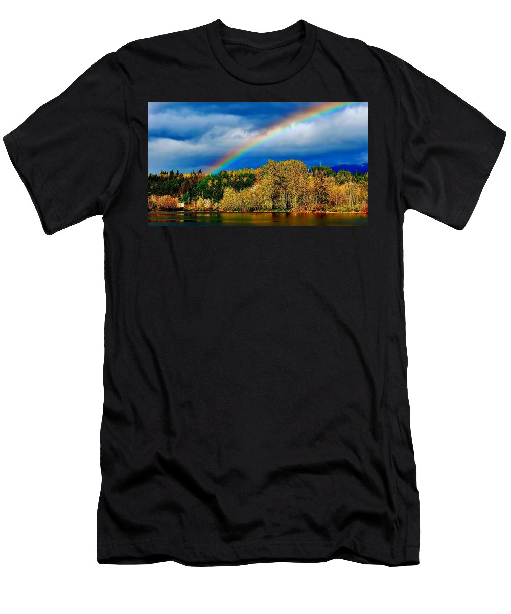 Beautiful Men's T-Shirt (Athletic Fit) featuring the photograph Rainbow Over Mill Pond by David Coleman
