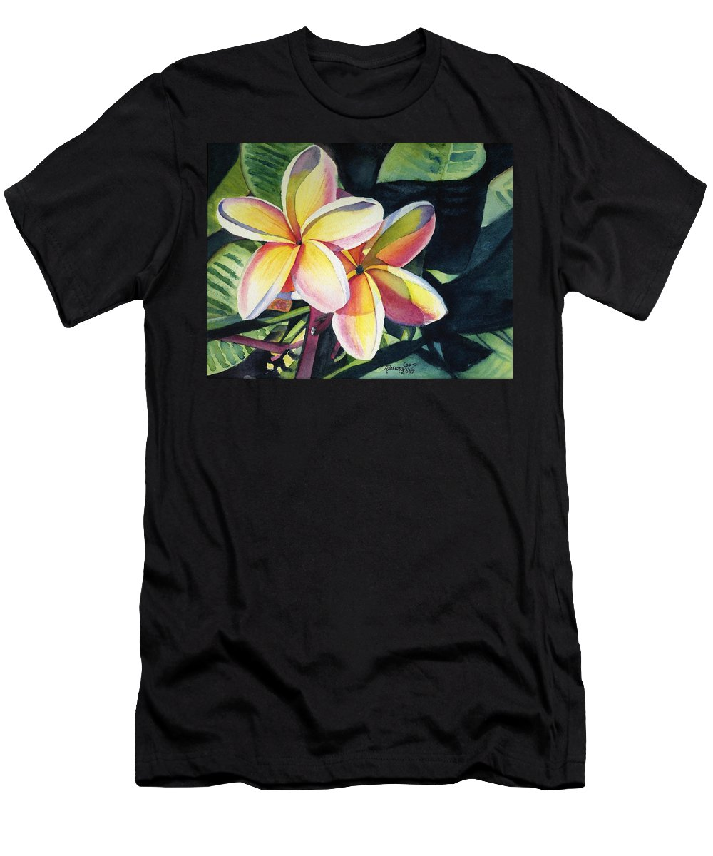 Rainbow Men's T-Shirt (Athletic Fit) featuring the painting Rainbow Plumeria by Marionette Taboniar