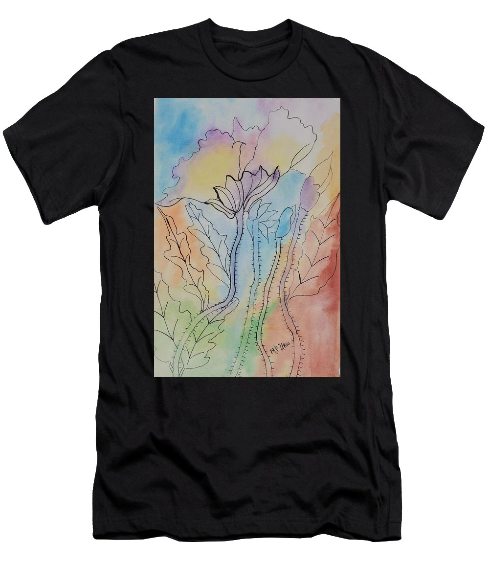 Rainbow Poppies Men's T-Shirt (Athletic Fit) featuring the painting Rainbow Poppies by Maria Urso