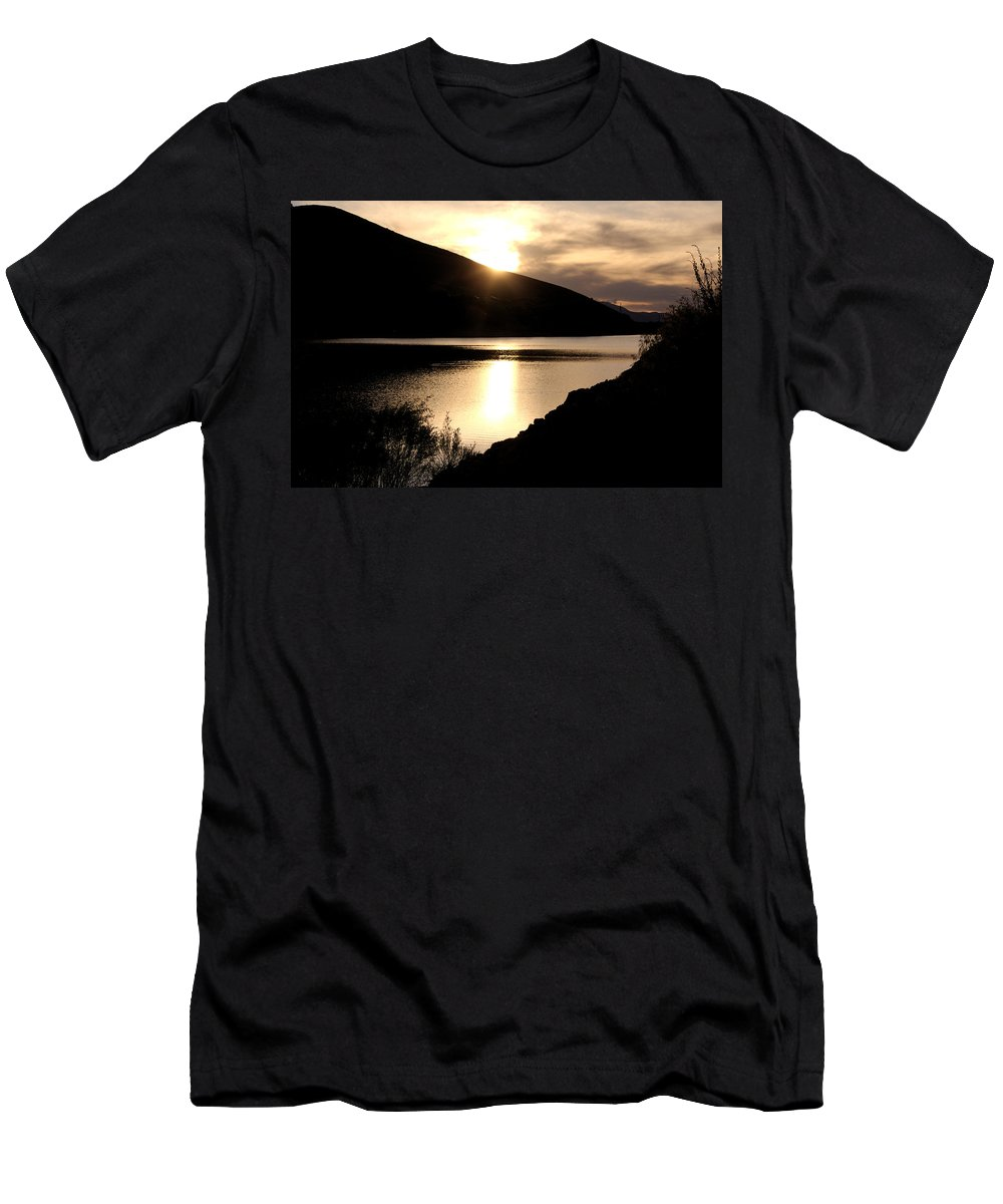 Reservoir Men's T-Shirt (Athletic Fit) featuring the photograph Rainbow Reservoir by Natalie Hood