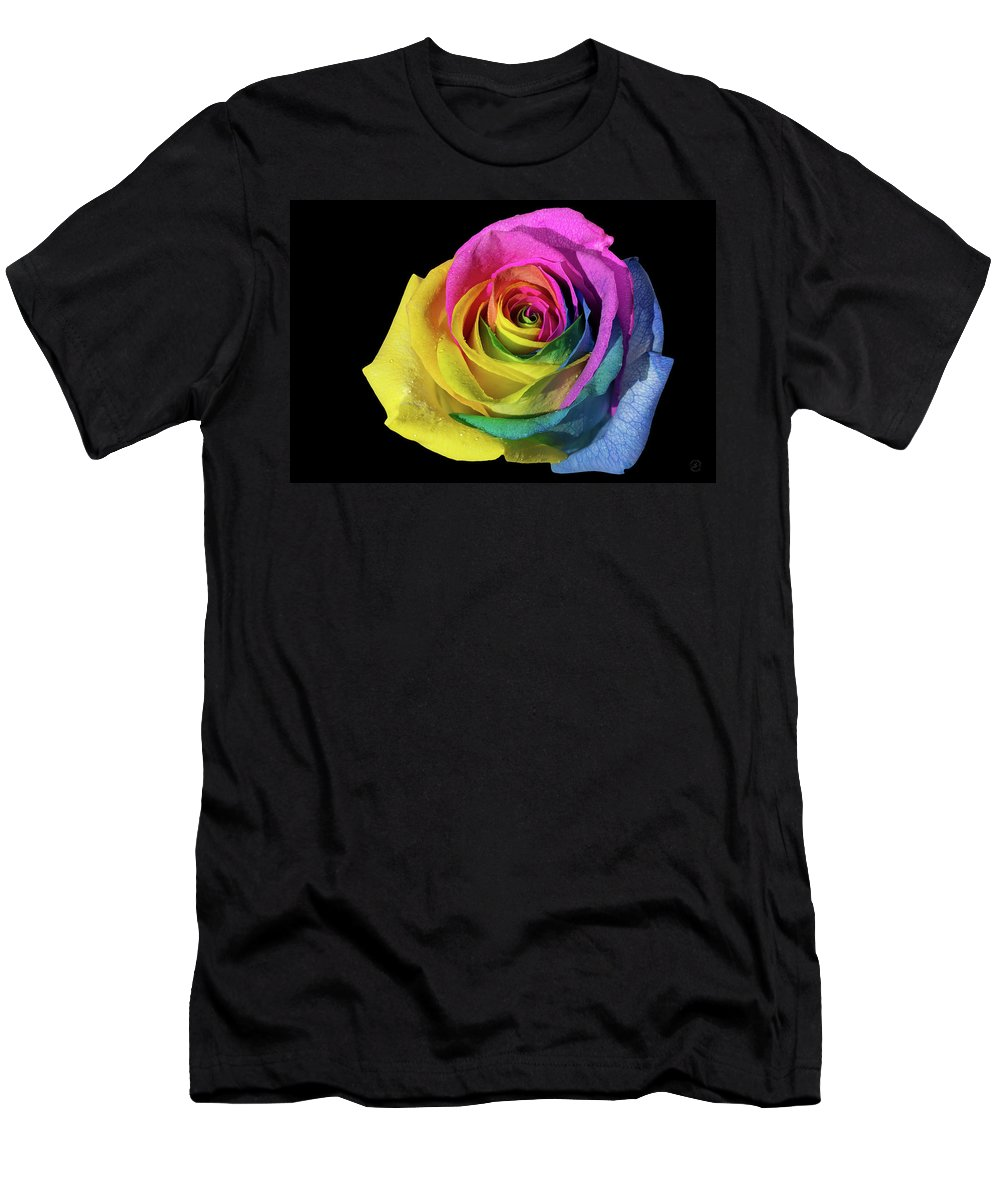 Flower Photos Men's T-Shirt (Athletic Fit) featuring the photograph Rainbow Rose by Maria Ollman