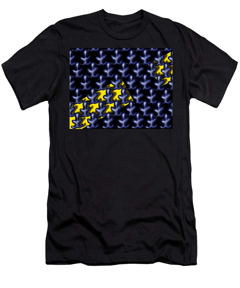Surrealism T-Shirt featuring the digital art Raindance III - March Of The Blue People by Robert Morin