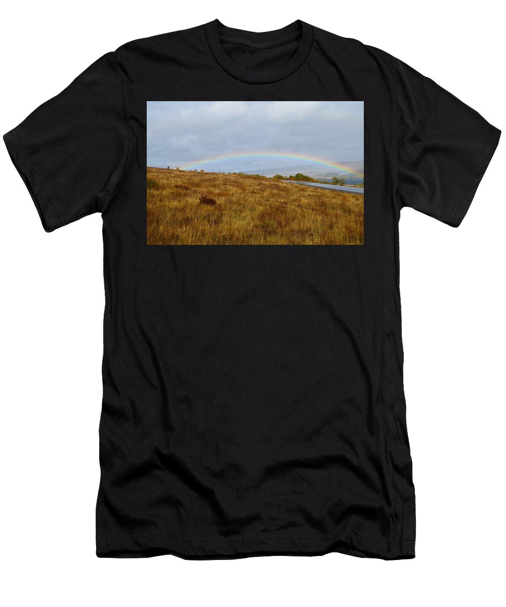Rainbow Men's T-Shirt (Athletic Fit) featuring the photograph Raindow Over Gold by Dale Cash