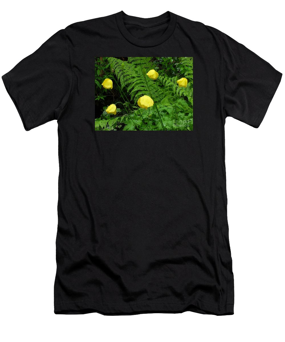Rain Men's T-Shirt (Athletic Fit) featuring the photograph Raindrops On Yellow And Green by Patrick J Murphy
