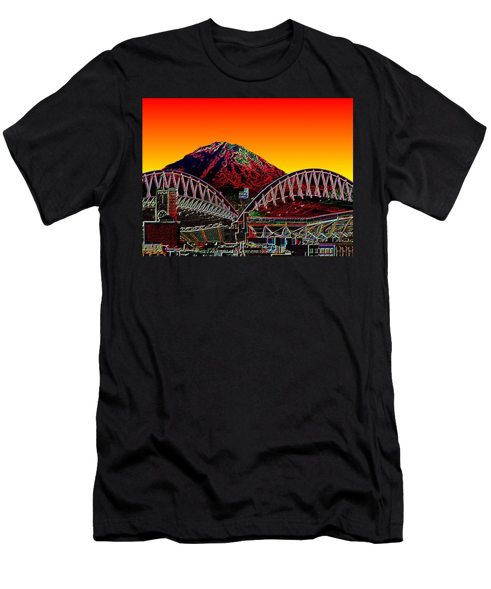Mount Rainier Men's T-Shirt (Athletic Fit) featuring the photograph Rainier Over Qwest Field by Tim Allen