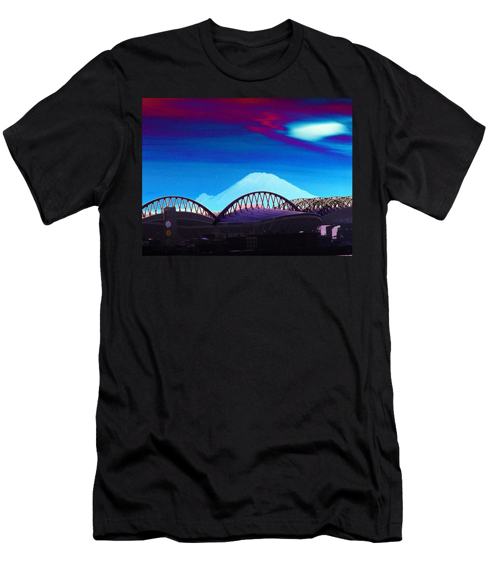Seattle Men's T-Shirt (Athletic Fit) featuring the photograph Rainier Over Sodo by Tim Allen
