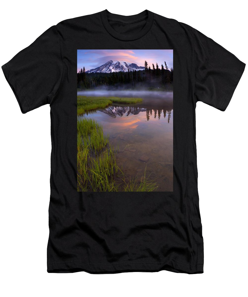 Rainier Men's T-Shirt (Athletic Fit) featuring the photograph Rainier Sunrise Cap by Mike Dawson