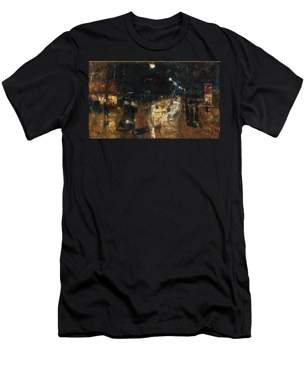 Lesser Ury 1861-1931 Rainy Berlin Street Men's T-Shirt (Athletic Fit) featuring the painting Rainy Berlin Street by Lesser
