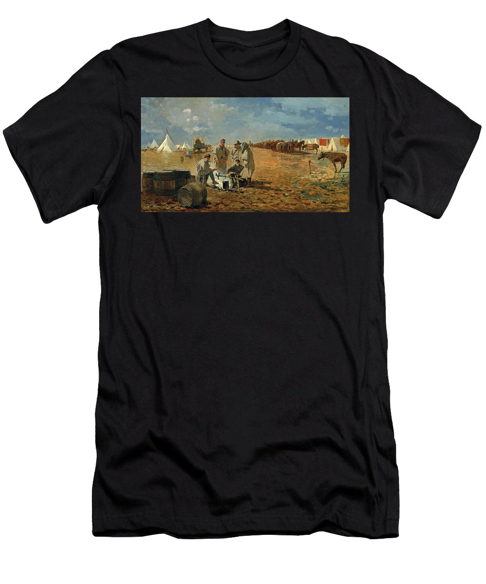 Winslow Homer Men's T-Shirt (Athletic Fit) featuring the painting Rainy Day In Camp by Winslow Homer