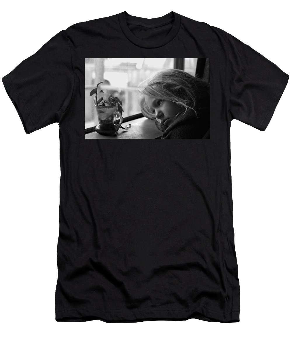 Sad Face Men's T-Shirt (Athletic Fit) featuring the photograph Rainy Day by Peter Piatt