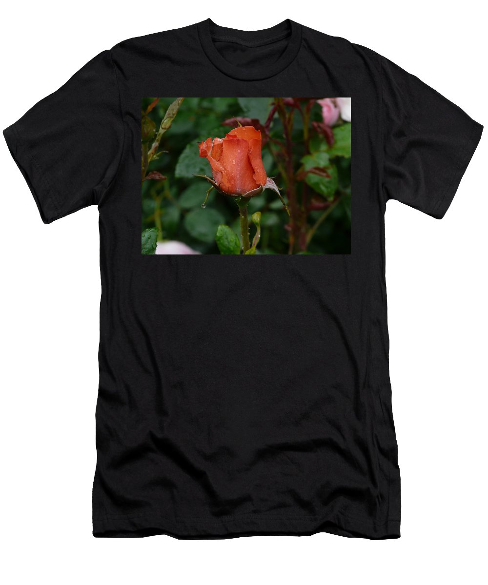Flower Men's T-Shirt (Athletic Fit) featuring the photograph Rainy Rose Bud by Valerie Ornstein