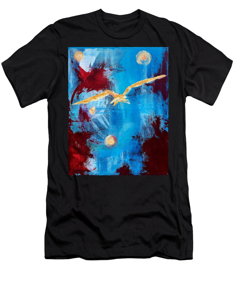 Blue Men's T-Shirt (Athletic Fit) featuring the painting Ram On. by Kelly Fitzpatrick