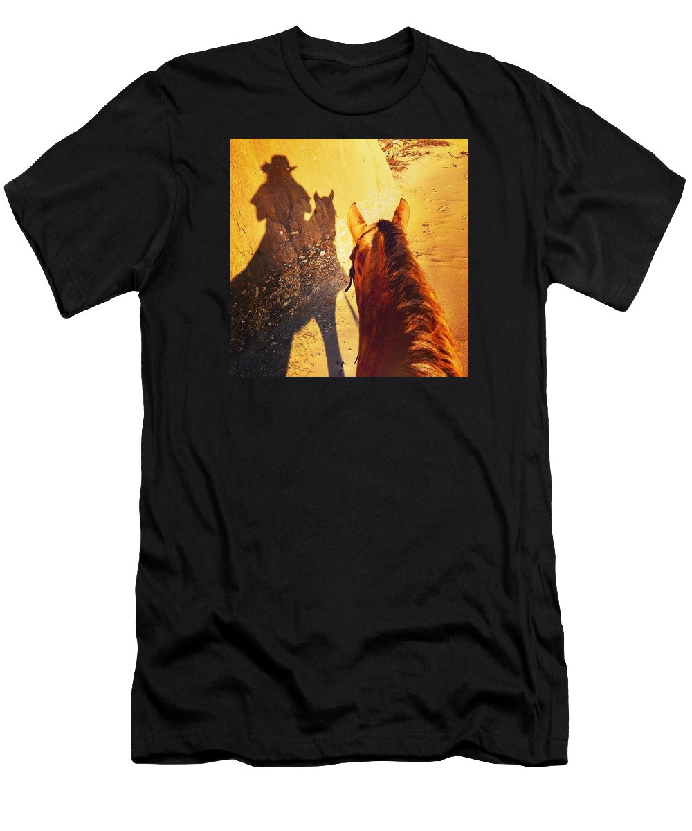 Cowgirl In The Sand Men's T-Shirt (Athletic Fit) featuring the photograph Ranch Girl Selfie by JoJo Brown