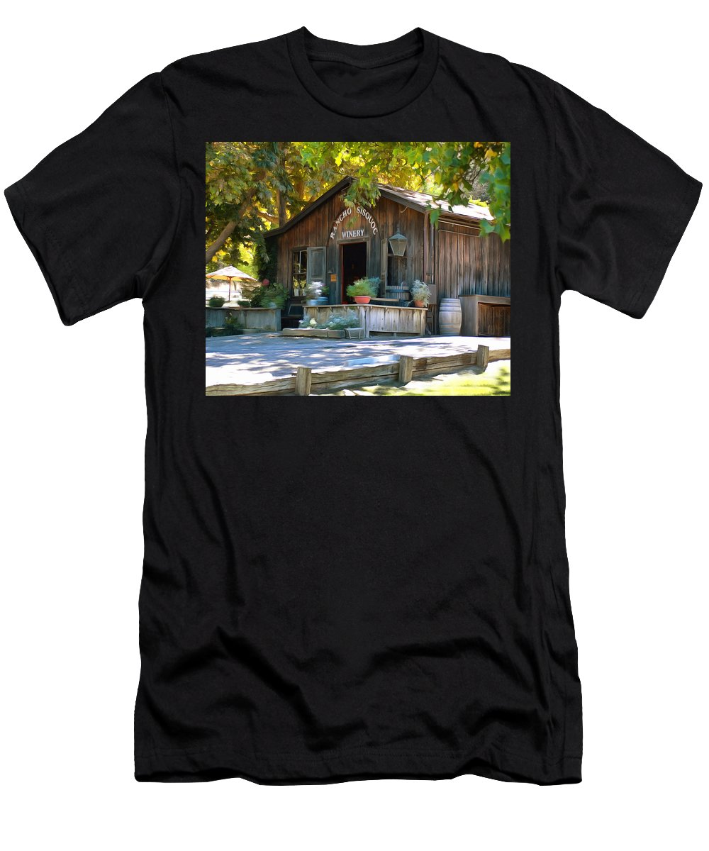 Barbara Snyder Men's T-Shirt (Athletic Fit) featuring the digital art Rancho Sisquoc Winery by Barbara Snyder