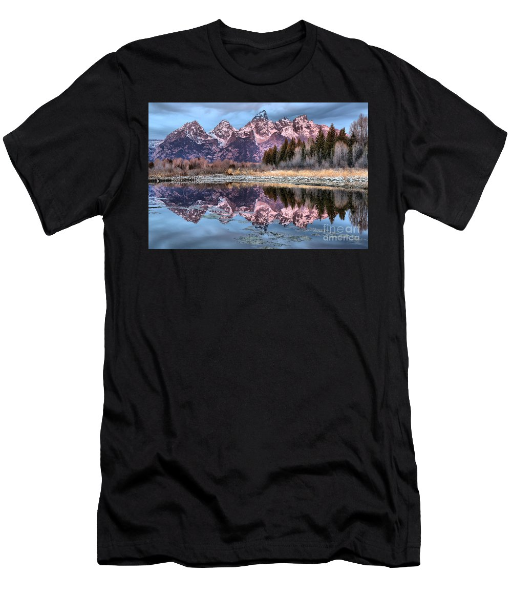 Tetons Men's T-Shirt (Athletic Fit) featuring the photograph Grand Teton Snow Capped Reflections by Adam Jewell