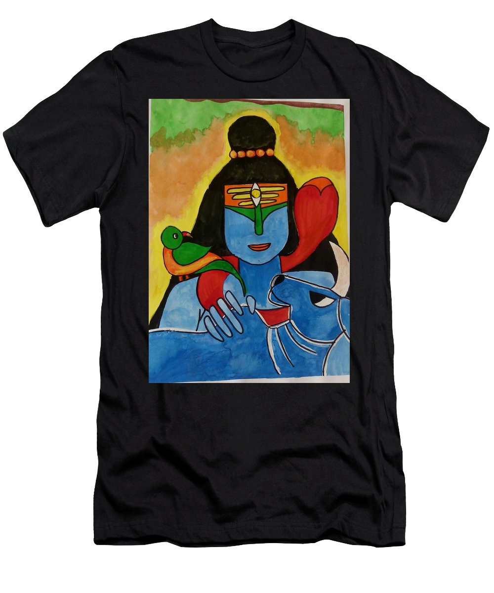 Lord Shiva - The Bhum Bhum Bhole - Indian God Men's T-Shirt (Athletic Fit) featuring the painting Rangeela Bhole by Devendra Pratap Singh