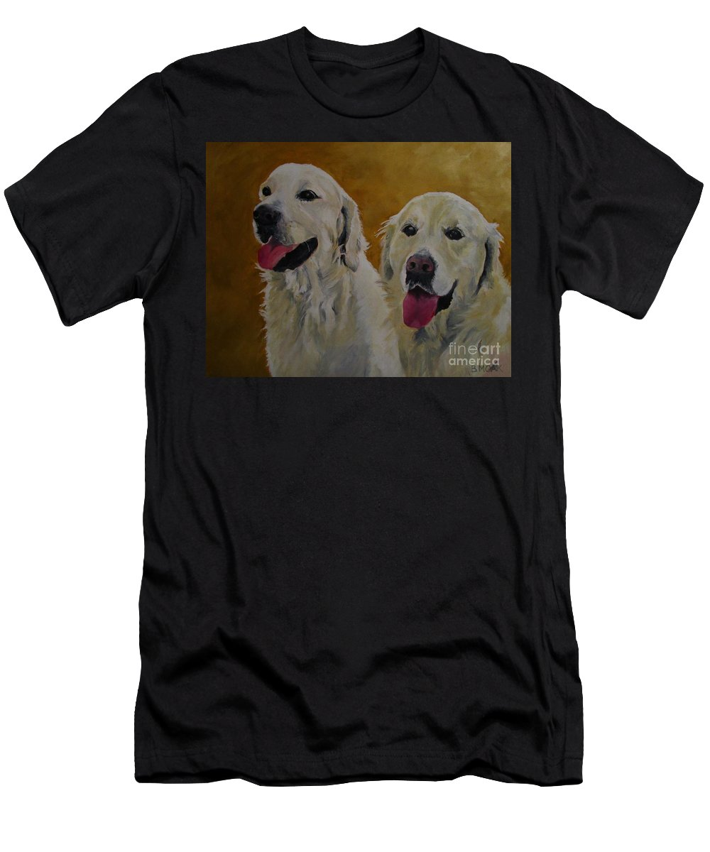 Barbara Moak Men's T-Shirt (Athletic Fit) featuring the painting Ranger And Riley Waiting For A Command by Barbara Moak