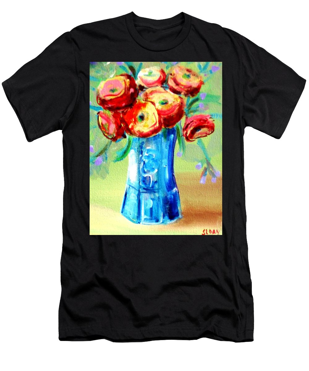 Rannuculus Men's T-Shirt (Athletic Fit) featuring the painting Rannunculus by Karen Sloan